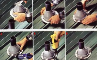 Как выполнить проход дымохода через кровлю из металлочерепицы своими руками