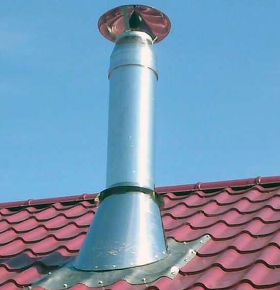 Как заделать дымоход на крыше из профнастила