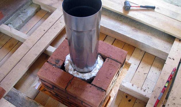 Переход дымохода с кирпича на металл